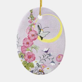 Hollyhock, Dahlia and Balloon Flowers Double-Sided Oval Ceramic Christmas Ornament