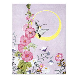 Hollyhock, Dahlia and Balloon Flowers Postcard