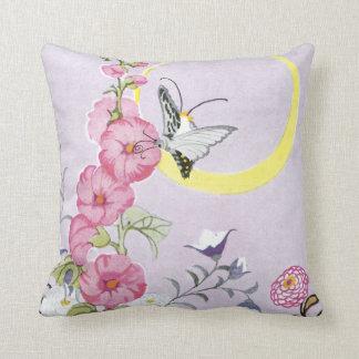 Hollyhock, Dahlia and Balloon Flowers Throw Pillow