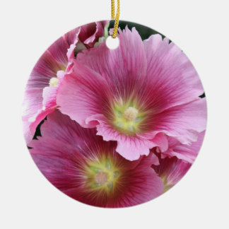 Hollyhock Double-Sided Ceramic Round Christmas Ornament