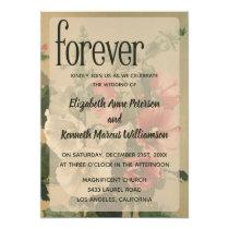 Hollyhock Floral Flower Vintage Wedding Forever Invitation