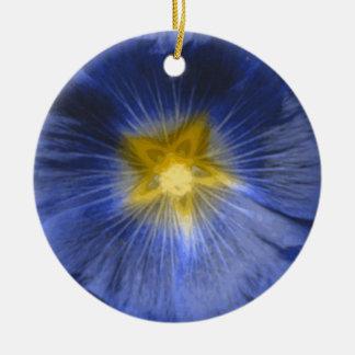Hollyhock Flower Beautiful Blue Custom Birthday Double-Sided Ceramic Round Christmas Ornament