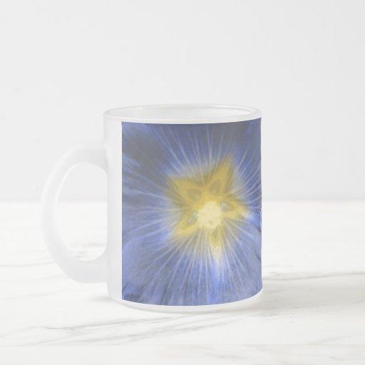 Hollyhock Flower Beautiful Blue Frosted Glass Mug