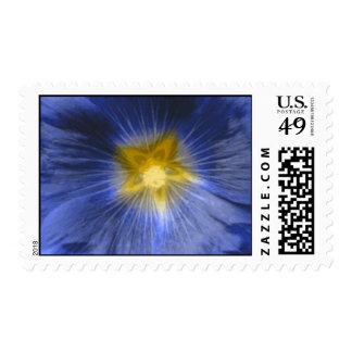 Hollyhock Flower Beautiful Blue Postage Stamp
