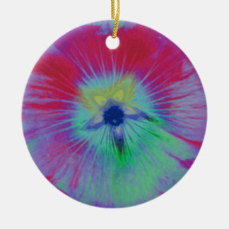Hollyhock Flower Bright Lights Custom Birthday Double-Sided Ceramic Round Christmas Ornament