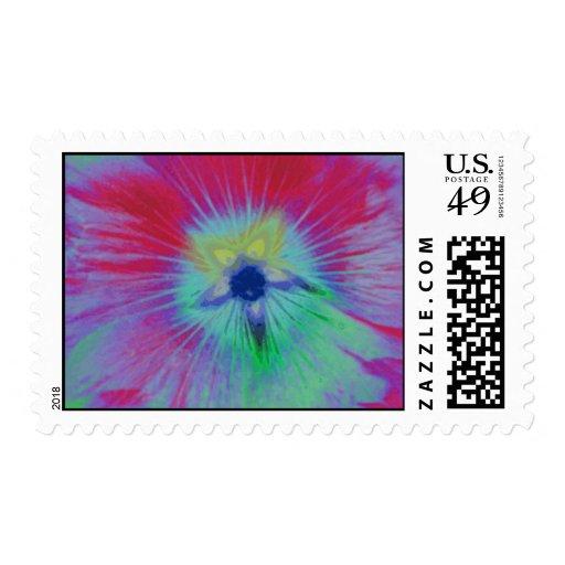 Hollyhock Flower Bright Lights Postage Stamp