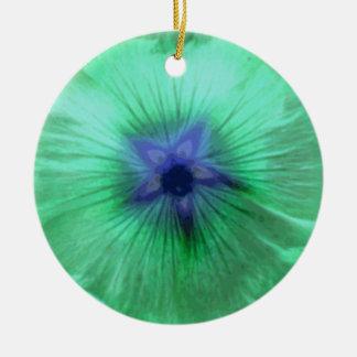 Hollyhock Flower Glowing Green Custom Birthday Double-Sided Ceramic Round Christmas Ornament