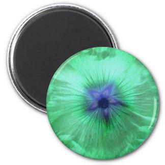 Hollyhock Flower Glowing Green Magnet