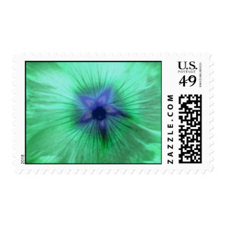 Hollyhock Flower Glowing Green Postage Stamp