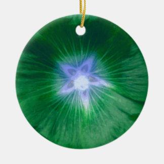 Hollyhock Flower Gorgeous Green Custom Birthday Double-Sided Ceramic Round Christmas Ornament