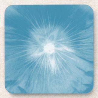 Hollyhock Flower Icy Blue Cork Coaster