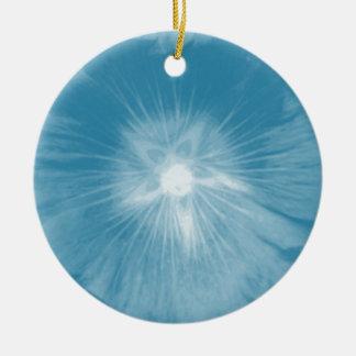 Hollyhock Flower Icy Blue Custom Birthday Double-Sided Ceramic Round Christmas Ornament