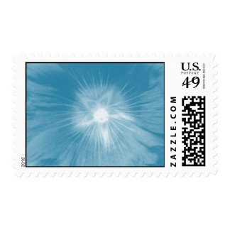 Hollyhock Flower Icy Blue Postage Stamp