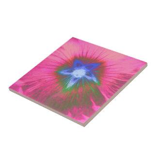 Hollyhock Flower Pink Velvet Tile