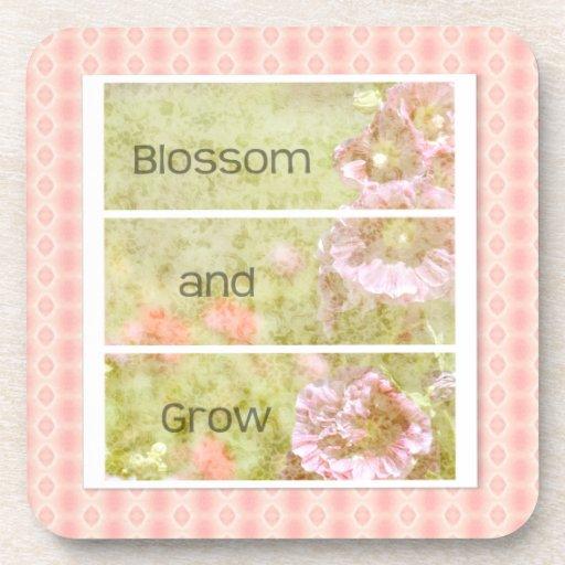 Hollyhock inspirado floral posavasos