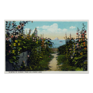 Hollyhock Lane View of the Harbor Poster