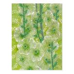 Hollyhock Mallow Malva Flowers Green Shades Floral Postcard