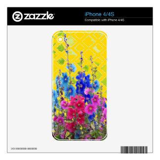 Hollyhock, regalos amarillos del jardín por calcomanías para el iPhone 4S