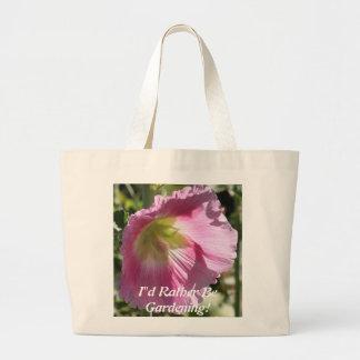 Hollyhock rosado bolsa lienzo