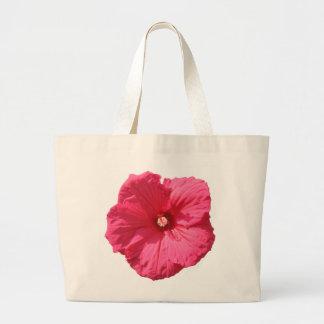 Hollyhock rosado delicado bolsa tela grande
