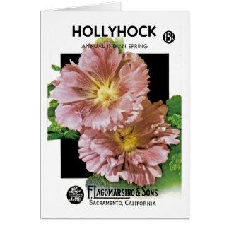 Hollyhock Vintage Seed Packet Greeting Card