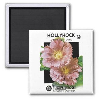 Hollyhock Vintage Seed Packet Magnet