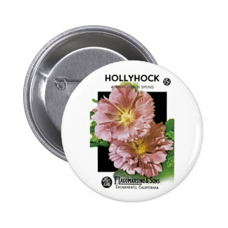 Hollyhock Vintage Seed Packet Pinback Button