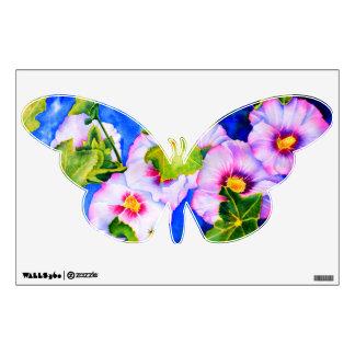 Hollyhocks and butterflys room sticker