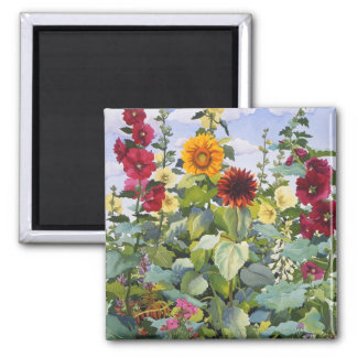 Hollyhocks and Sunflowers 2005 2 Inch Square Magnet