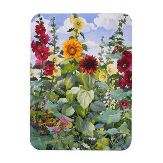 Hollyhocks and Sunflowers 2005 Rectangular Photo Magnet