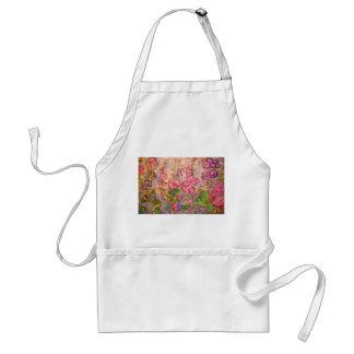 hollyhocks blooming apron