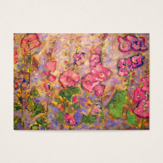 hollyhocks blooming business card