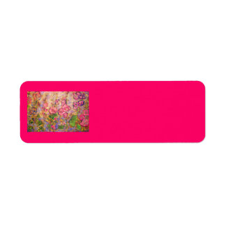 hollyhocks blooming label