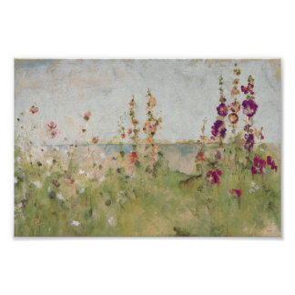 Hollyhocks by the Sea Poster