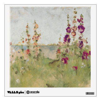 Hollyhocks by the Sea Wall Sticker