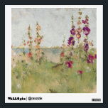 """Hollyhocks by the Sea Wall Sticker<br><div class=""""desc"""">&#169; Cheri Blum / Wild Apple.  Hollyhocks by the sea,  along with green grass. A blue sky can be seen on the background.</div>"""