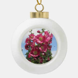 Hollyhocks Ceramic Christmas Ornament