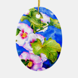Hollyhocks Double-Sided Oval Ceramic Christmas Ornament