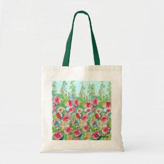 Hollyhocks florales del totalizador bolsas