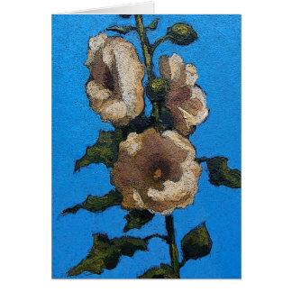 Hollyhocks: Flowers, Garden, Original Painting Card