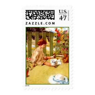 Hollyhocks Garden Tea Girl w/ Teddy Bear STAMPS