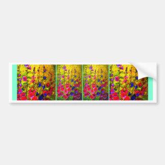 Hollyhocks Garden Windows by Sharles Bumper Sticker