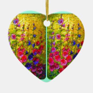Hollyhocks Garden Windows by Sharles Double-Sided Heart Ceramic Christmas Ornament