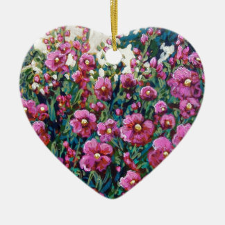 hollyhocks in pink Double-Sided heart ceramic christmas ornament