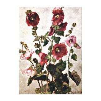 Hollyhocks - Max Weyl painting Canvas Print