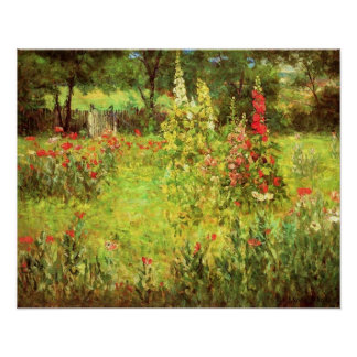 Hollyhocks & Poppies Poster