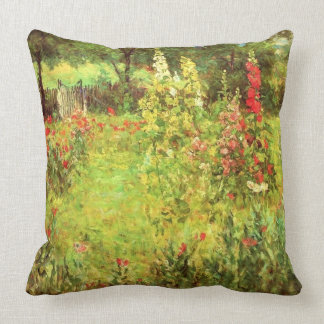 Hollyhocks & Poppies Throw Pillow