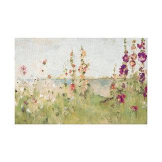 Hollyhocks por el mar impresión en tela