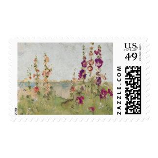 Hollyhocks por el mar sello postal