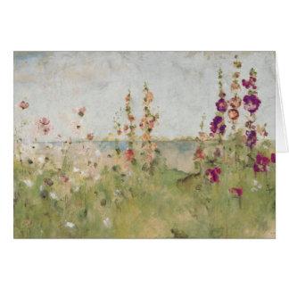 Hollyhocks por el mar tarjeta de felicitación